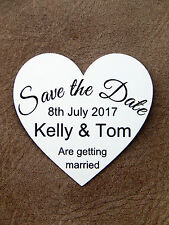 10 Save The Date Personalised Wedding Magnet Cards Invites - WHITE - Heart Card
