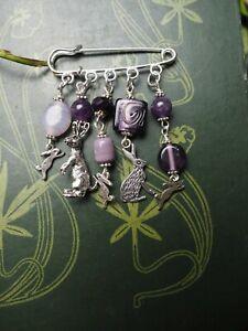 Hare & Amethyst Pin Brooch - Pagan - Witchcraft - Cloak Pin - Rabbit - Andraste