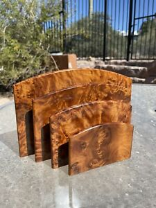 Genuine Solid Thuya Wood Burl Desktop Letter/ Paper/ Storage/ Display Organizer