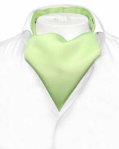 Vesuvio Napoli ASCOT Solid LIME GREEN Color Cravat Mens Neck Tie