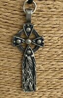 Vintage Celtic Cross Crufix Pendant Irish Carved Medal Religious Silver Pewter