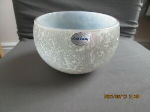 VINTAGE ROYAL BRIERLEY STUDIO GLASS BOWL CASED SILVER/WHITE IRIDESCENT SIGNED