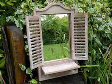 Shutter Door Window Wooden Rustic Garden Bathroom Wall Mirror & Shelf Unit 70cm