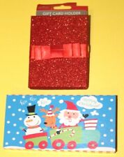 Christmas Gift Card Holder Boxes with Ribbon & Foil Set Of Four Different Gift