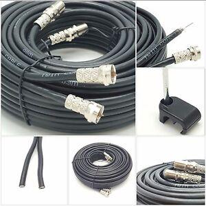 10m twin shotgun Satellite cable For SKY+ HD Q black NEW ! TV Satellite coax