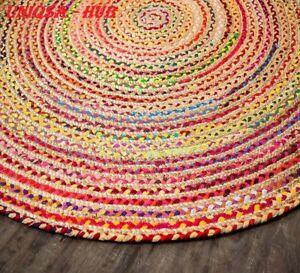 Rug Jute & cotton multi color  3x3 hemp carpet reversible home living decor Rug
