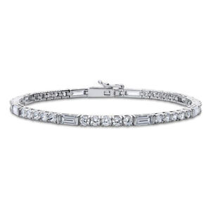 Real 925 Sterling Silver tennis bracelet round baguette white single line women