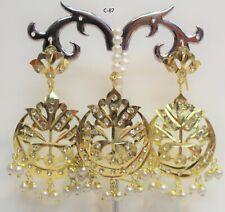 New Indian Bollywood Bridal Earring Tikka Jewellery Set Gold Plated Maang Tikka