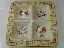MAXCERA RED YELLOW ROOSTER 4-SECTION ANTIPASTO APPETIZER SNACK TRAY