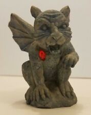 "Winged Gargoyle Statue 3 1/2"" Tall with Red Gem Cat Like Green Figurine"