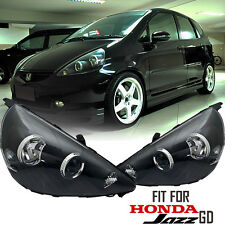 Black Projector Head Lights Fit For Honda Jazz GD 2002 2003 2004 2005 2006 2007