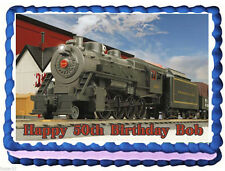 Train Sante Fe Locomotive Frosting Sheet Cake Topper FREE Personalization