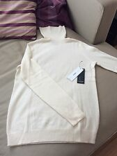 bloomingdales white turtleneck sweater 100% cashmere size m