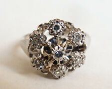 Bague   OR blanc massif 18k + diamants Bijou ancien gold ring diamonds