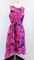 NWT Tahari ASL Levine Pink Floral Mesh Hi Lo Cocktail Party Dress Sz 4 Fit Flare