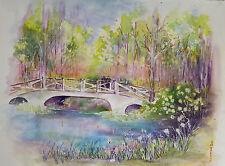Painter Suzanne Obrand, Holocaust Survivor, Watercolor Tranquility Bridge Framed