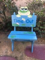 RARE Wooden Solid Wood Time Out Chair Naughty Toddlers Home Daycare