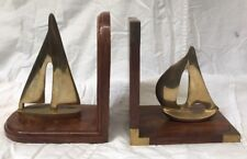 "7"" Tall Brass and Wood Sailboat Bookends"