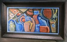 Vintage Outsider Oil Painting Abstract Cubist Still Life BOLD Massive Frame BLUE
