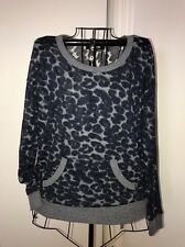 FOREVER 21 Sweater Top Sz S Sheer Leopard Animal Print Crew Neck Pullover