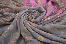100% SILK VINTAGE GRAY SARI FLORAL PRINTED INDIAN WOMEN DRESS WRAP 5 YARD SAREE
