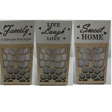 New Wooden LED Light Up Lantern Free Standing Plaque Sign Home Décor Xmas Gift