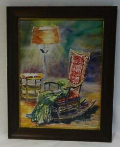 Primitive Watercolor Painting of a Room Scene with a Rocker Signed Murr