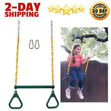 """New 18"""" Trapeze Swing Bar Rings 48"""" Heavy Duty Chain Swing Set For Kid Green"""