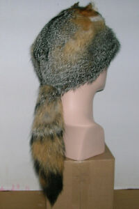NEW  GRAY FOX MOUNTAIN MAN FUR HAT WITH FACE MADE IN USA. fur/pelt/skin/hide