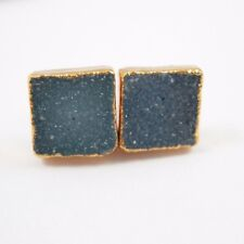 Druzy Studs,Gold plated Silver Square Druzy Blue Agate 10mm Earring Studs-1 Pair