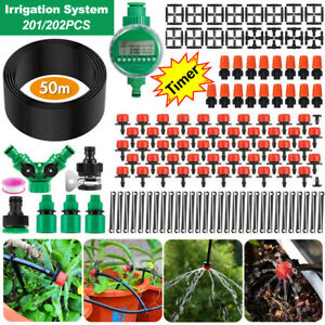 50M Hose Garden Irrigation System with Timer Plant Watering DIY Micro Drip Kits
