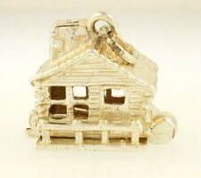 Sterling Silver Openable Western Cowboy House Charm w/ Pick Axe (14x12mm)
