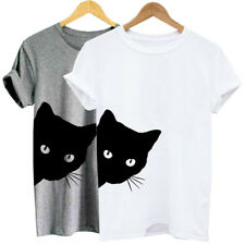 Womens Short Sleeve Scoop Neck Cat Print Casual Top Blouse T-shirt Tee Loose UK