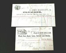 1884 & 1889 Antique Receipts Wood, Coal Sand and Lead, Iron & Pipe Plumber