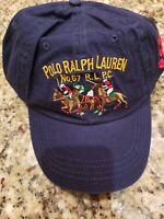 POLO RALPH LAUREN MEN'S NAVY 3 POLO PLAYER/PONY LOGOS BALL CAP HAT OSFA $39 NWT