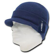 New Navy Blue Ski Visor Beanie Hat Cap Knit Skull Winter Jeep Snowboard Beanies