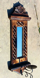 Wall mounted wooden candle holder with mirror & metal candle dish