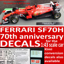 FERRARI SF70H 2017 70th Anniversary water slide DECALS 1:43 Seb / Kimi