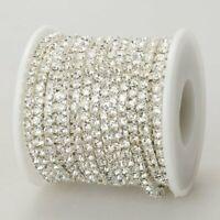 Clear crystal rhinestone encased in silver metal chain trim, 4mm, Meter