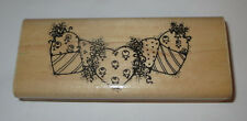 "String of Hearts Rubber Stamp Heart Trio Roses Flowers Wood Mounted 4.5"" Long"