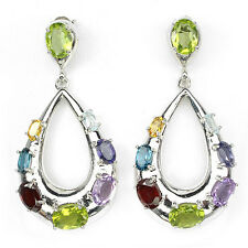 925 STERLING SILVER 13.20 CTW PERIDOT, TOPAZ, AMETHYST, IOLITE BIG EARRINGS