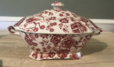 RARE! Vintage Soup Tureen ENGLISH CHIPPENDALE - red- Johnson Bros.-PERFECT