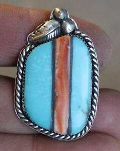 AWSOME! Size 8.5 - Turquoise & Spiny Oyster Inlay Ring - Set in Silver