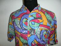 vintage FASHION REPORT Hemd crazy pattern 90s Shirt Viskose 90er gemustert M