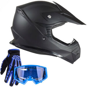 Youth Kids Matte Black Offroad Helmet with Blue Goggles and Gloves Combo DOT ATV