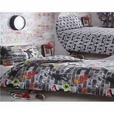 Kidz Club Tricks Skateboard and Graffiti Duvet Cover Bedding Set - Single, Grey
