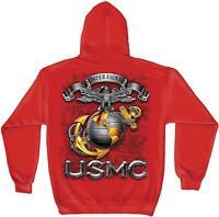 Erazor Bits Sweatshirt Hoodie - USMC Semper Fidelis Marine Corps Logo  - Red