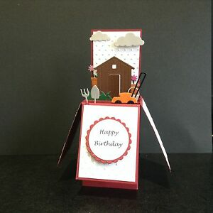 Handmade card Happy Birthday/Fathers day/ personalised pop up card Garden theme