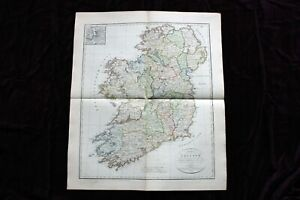 Große antike histor.Landkarte, Ireland, Kitchin, Jefferys, Beaufort Weimar, 1804