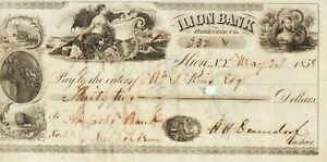 Check, 5.24.1858,New York-Ilion Bank, Herkimer County,$32.00, Very Fine Cond